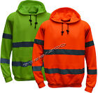 New HI VIZ VIS Visibility Hooded Hoodie Reflective Fleece Top Jumper Work Wear
