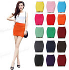 Hot Ladies Women Sexy High Waist Pleated Stretch Bodycon Candy Colors Mini Skirt