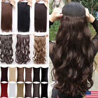 Clearence Sale 3/4 Full Head Clips In Hair Extensions Curly Wavy Hairpiece Real