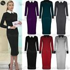 Womens Ladies Fine Knitted Long Sleeve Contrast Collared Midi Dress Plus Size