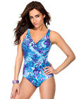 Womens Miraclesuit Oceanus Purple and Blue Print Ladies Fashion Swimsuit NWT