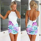 Sexy Women Slim Dress Sleeveless Backless Floral Cocktail Evening Party Dress