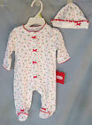 LITTLE ME 100% Ctn CHRISTMAS Footie w/Candy Cane &Holly Print &Matching Hat  NWT