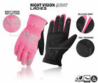 Cycling Gloves Bike Full Finger Night Vision Thermel Waterproof Ladies Pink