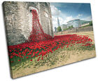 Tower of London Poppies City SINGLE CANVAS WALL ART Picture Print VA