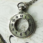 Clock Charm Pewter on Plated Cable Chain Open Face Pocket Watch Stop Wind