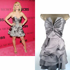 Karen Millen Corset Dress Pewter SILK Short Prom Evening Cocktail Party Sz 10 12