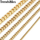 "18-36"" MENS BOY Stainless Steel 3/5/7/9/11mm Gold Curb/Cuban Link Chain Necklace"