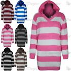 Womens Ladies Block Stripes Chunky Knitted Hoodie Hooded Long Jumper Dress Tops