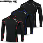 Mens Base Layer Compression Shirt Top Full Long Sleeve Thermal Body Armour Black