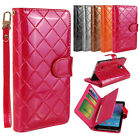 Grid ID Card Wallet Magnet Case Cover For Samsung Galaxy Note 4 N9100+Wristlet