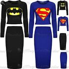 Womens Ladies Batman Superman Cropped Top 2 Peice Co-Ord Bodycon Midi Skirt 8-14