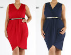 D51 New Womens Sleeveless Formal Party Evening Wedding Wrap Work Plus Size Dress