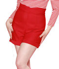 Bettie Page Hot Time Shorts - Red