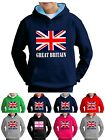 Union Jack Hoodie Great Britain Flag Kids GB Sweatshirt - Smartphone Compatable