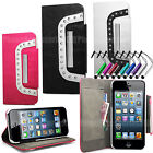 Shiny Diamond Wallet Leather Case Stand Cover For Samsung Galaxy Phone Models