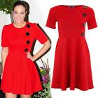 Women's Celeb Inspired Vintage Style 4 Button Short Sleeve Skater Party Dress