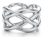 Sterling Silver PL Geometric Ring Woven Crisscross Band Size 6-9