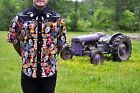 Day of the Dead Black Psychobilly Short Sleeve Western Shirt, Big and Tall XS-6X
