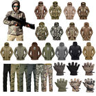 Men Outdoor Hunting Jacket Waterproof Coat Military TAD Shell Pants Glove Hoodie