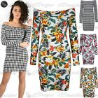 Womens Ladies Floral Dog Tooth Print Bardot Off the Shoulder Bodycon Mini Dress