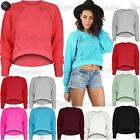 Womens Ladies Chunky Cable Knitted Round Neck Stretchy High Low Dip Hem Crop Top