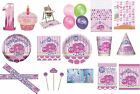 1st FIRST BIRTHDAY GIRL PARTY TABLEWARE DECORATIONS BALLOONS PINK LADYBUG DESIGN