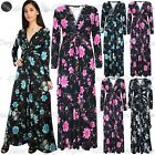 Womens Ladies Floral Roses Summer Sunny V Neck Front Tie Knot Twisted Maxi Dress