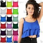 Womens Ladies Ruffle Frill Flared Double Layered Cami Swing Bralet Crop Vest Top