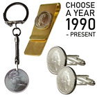 Lucky Penny and Lucky Horse Shoe 5P PENCE KEY CHAIN / RING CHOOSE YOUR YEAR