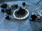 Various raw druzy BLACK TOURMALINE gemstone pendant earrings ethnic pagan