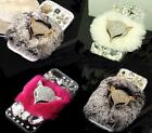 New Luxury Bling Crystal Diamond Rhinestone Fox Rabbit Fur Case Cover For Phone