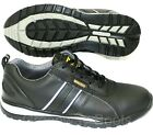 MENS BLACK LIGHTWEIGHT LEATHER STEEL TOE CAP SAFETY TRAINERS WORK SHOES BOOTS SZ