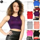 Womens Ladies Sleeveless Muscle Vest Racer back Gym Slash Neck Bralet Crop Top