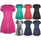 Womens Ladies Plain Round Neck Cap Sleeve Pleated Flared Skater Party Dress 8-14
