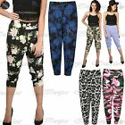 Womens Ladies Floral Print 3/4 Harem Leggings Cropped Ali Baba Bottom Pants 8-26