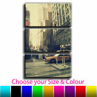 New York Vintage Taxi Treble Canvas Wall Art Picture Print 30O