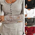 Sexy Womens Long Sleeve Embroidery Lace Button V Neck Loose Tee Shirt Top Blouse
