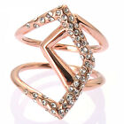 De Buman 18k Rose Goldplated & White Czech Ring Size7/ 8