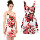 Womens  Sleeveless Padded Bra Cups Textured Crepe Floral Skater Flare Dress
