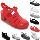 Womens Summer Flat Block Heel Plain Glitter Flip Flop Sandals Jelly Shoes