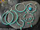 Hand crafted wire wrapped earrings turquoise blue glass beads 925 filled hook #3