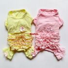 Pink Yellow Ruffle Dog Pajamas Jumpsuits Pet Apparel Dog Clothes XS S M L XL NEW