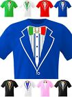 Tuxedo T Shirt Italian Flag Bow Italia Football Rugby Stag Hen Fancy Dress Party