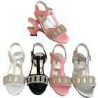 GIRLS KIDS CHILDREN LOW HEEL WEDDING BRIDESMAID SANDALS  PARTY SHOES SIZE 7-3