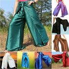 Womens Fisherman / Palazzo Pants Wrap Wide Leg Thai Silk Hippie Trousers Sarong