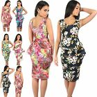 Women Ladies Floral Sleeveless Bodycon Double Frill Slant Peplum Midi Dress