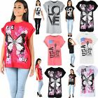 Women Ladies Printed Dimante Stud Butterfly USA Love Baggy Oversized T Shirt Top