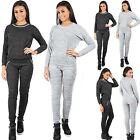 Womens Ladies Diamante Studded Necklace Marl Top Jogging Bottoms Full Tracksuit