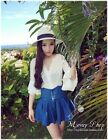 Korean Style Causel Long Trumpet Sleeve Lady Fashion Siamese Jeans Culottes 8485